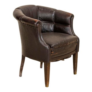 Antique Vintage Leather Barrel Shaped Scale Arm Chair For Sale