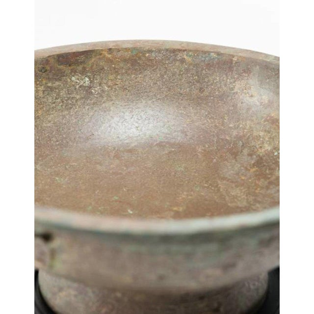 Asian Lawrence & Scott Patinated Vessel on Stand For Sale - Image 3 of 10