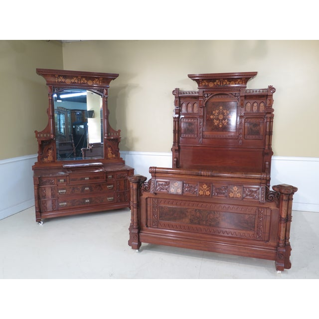 Herter Brothers Aesthetic Victorian Inlaid Walnut Queen Bedroom Set - A Pair - Image 2 of 11