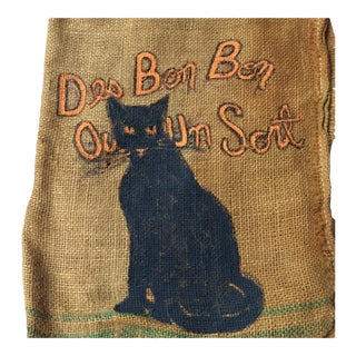 Hand Painted French Black Cat on Recycled Vintage Burlap Coffee Sack