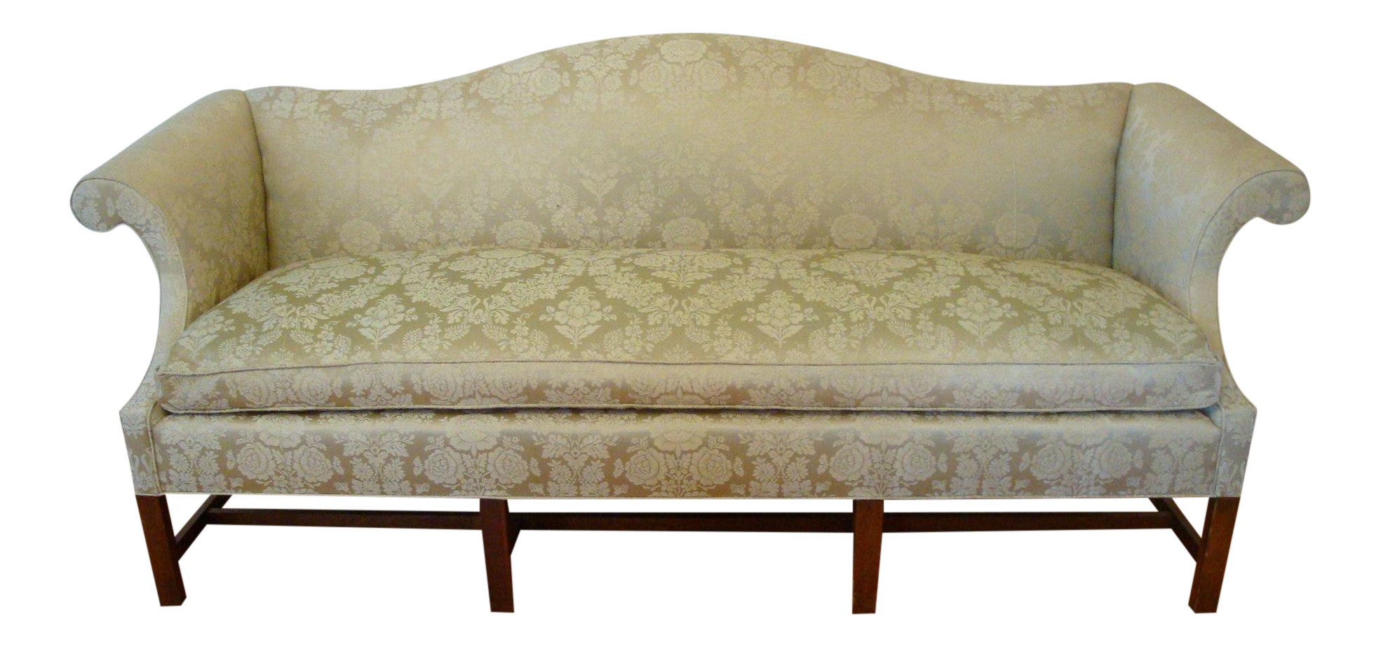 Vintage Damask Camelback Down Chippendale Sofa   Image 1 Of 11