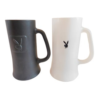 1960s Mid-Century Playboy Club Beer Tankards Steins Mugs His and Hers - a Pair For Sale