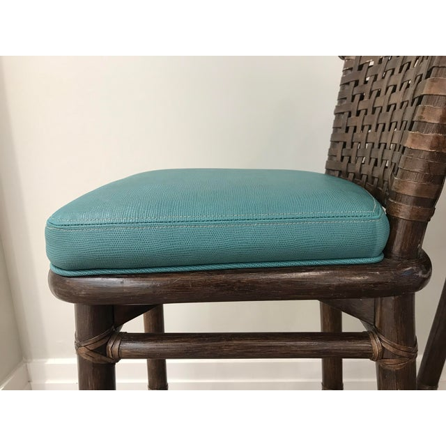 McGuire Teal Leather Like McGuire Bar Stools - a Pair For Sale - Image 4 of 12
