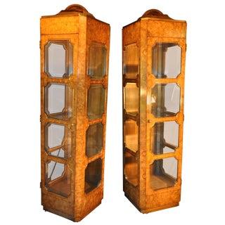 Elegant Pair of Burl Wood Mastercraft Curio Cabinets For Sale