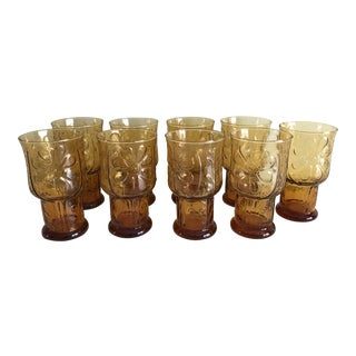 Mid-Century Amber Daisy Motif Glasses - Set of 9 For Sale