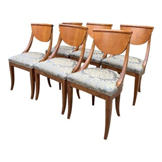 Vintage Mid Century Armless Italian Satinwood Deco Dining Chairs- Set of 6 For Sale