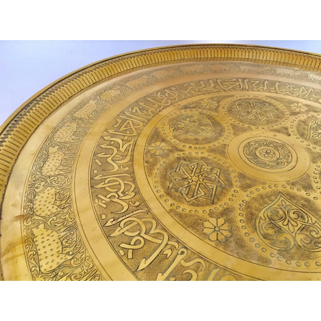 Indo-Persian Handcrafted Decorative Hammered Brass Tray For Sale In Los Angeles - Image 6 of 13