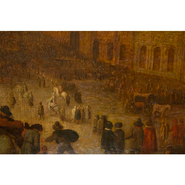 17th Century 17th Century European Landscape Fantastic Painting of a Festival For Sale - Image 5 of 5