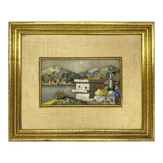 1950s Pietra Dura Plaque of Landscape by Giuseppe Fiaschi For Sale