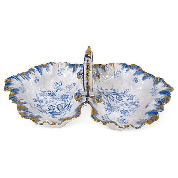 Blue & White Porcelain Divided Dish - Image 1 of 4