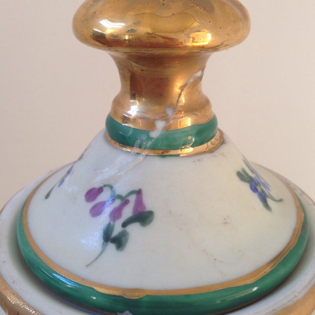 Green Floral Porcelain Urns - A Pair For Sale - Image 8 of 11