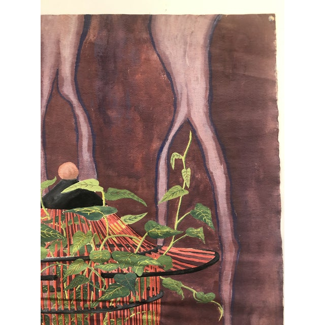 1960s Mystical Birdcage Painting on Paper 1960s For Sale - Image 5 of 12