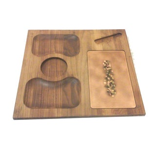 Ceramic Accented Wood Tray