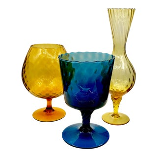 Empoli Mixed Optic Art Glass Compote Vases Set - 3 Pc. Set For Sale
