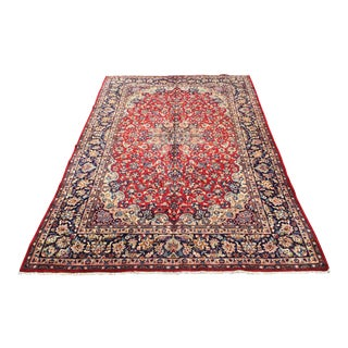 Handknotted Persian Mashad Rug - 9′10″ × 14′3″ For Sale