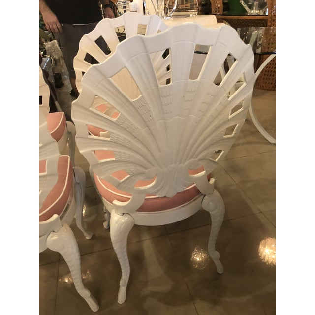 Vintage Brown Jordan Grotto Shell Back White Powdercoated Patio Chairs and Table -Set of 5 For Sale - Image 11 of 13