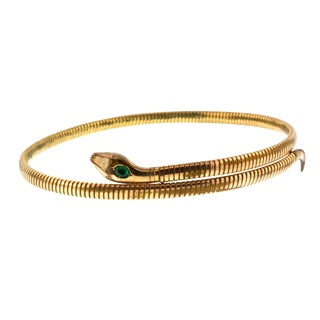 Kollmar & Jourdan Art Deco Rolled Gold Coiled Snake Choker For Sale