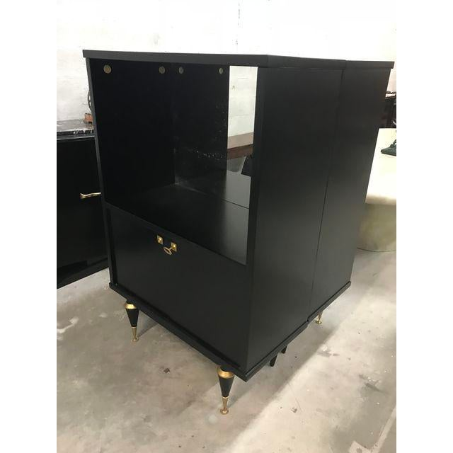 Brass 1940's French Art Deco Ebonized Dry Bar Cabinet For Sale - Image 7 of 13