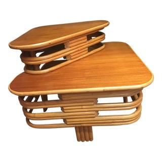 Mid-Century Modern Rattan Tropical Sun Co. Corner Table For Sale
