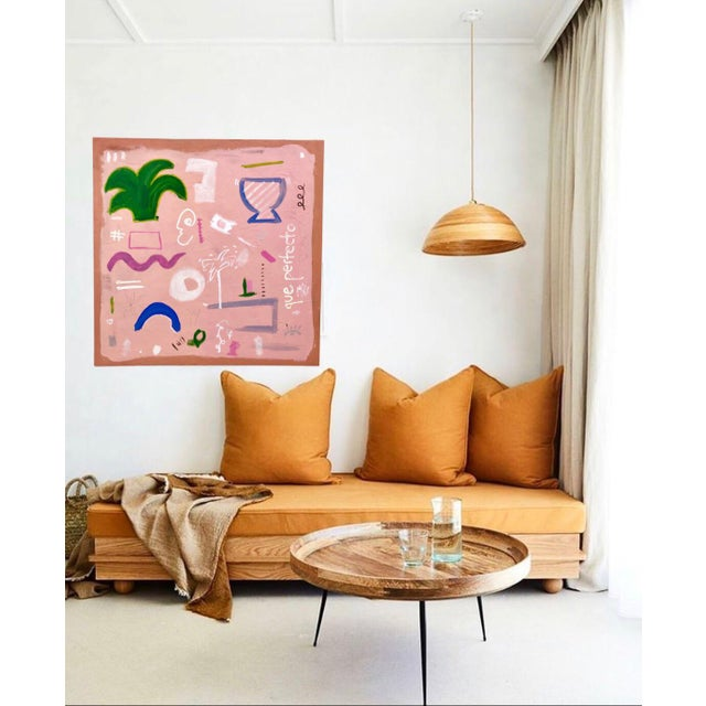 Abstract painting in shades of pink, green, white and blue by artist Virginia Chamlee. Features various botanic symbols...