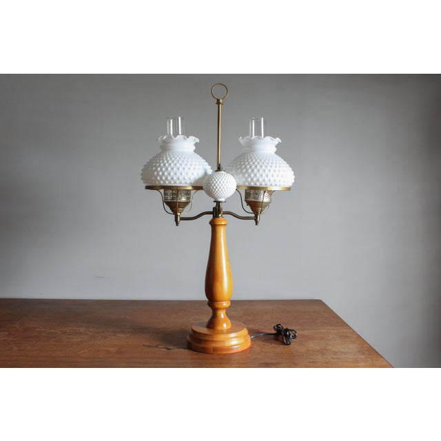 1950s Vintage Double Hobnail Milk Glass Student Lamp With Maple Wood Base For Sale - Image 11 of 11
