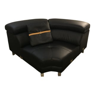 Black Modern Sectional Leather Sofa + Coffee Table Set