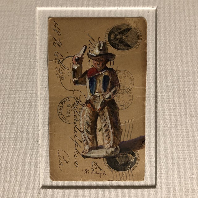 """2010s Original Illustration """"Dimestore Cowboy Toy"""" Painting by Stephen Heigh For Sale - Image 5 of 5"""