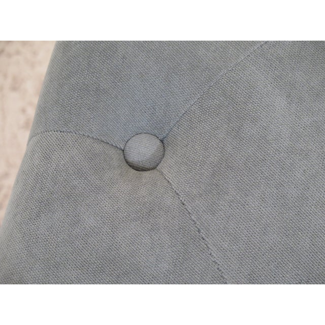 Traditional Tufted Upholstered Stool With Teal Fabric For Sale - Image 3 of 6