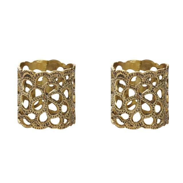 Oscar De La Renta Brass Gardenia Napkin Ring- A Pair - Image 1 of 8