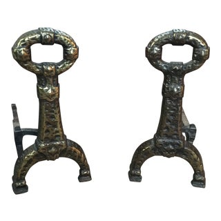 Antique Cast Iron and Plated Brass Brutalist Andirons - a Pair For Sale