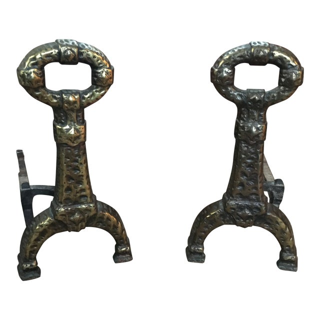 Antique Cast Iron and Plated Brass Brutalist Andirons - a Pair