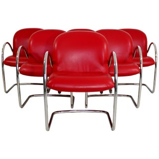 Mid-Century Modern Set of Six Brueton Dining Armchairs, Baughman For Sale