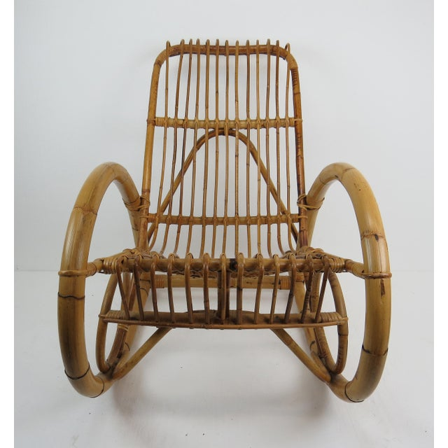 Mid 20th Century Vintage Franco Albini Style Bamboo Rocking Chair For Sale - Image 5 of 13