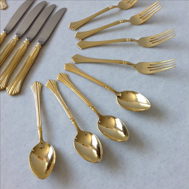 Gold Tone Flatware by Cambridge - Set of 20 - Image 6 of 7
