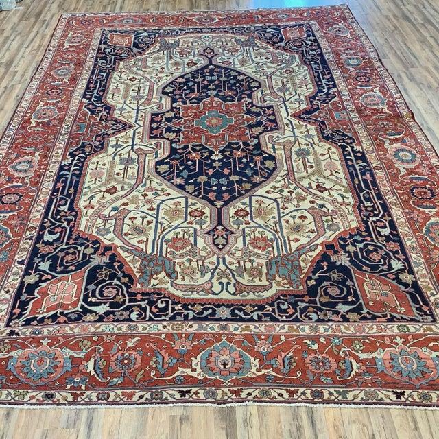 Antique Persian Serapi Heriz Rug- 10′8″ × 16′ For Sale - Image 10 of 11
