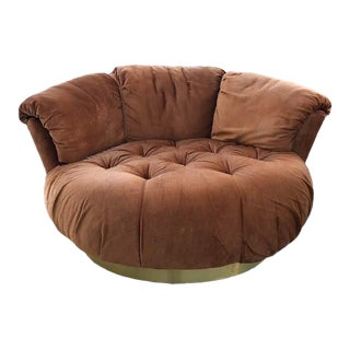 Mid-Century Tufted Lounge Ottoman Chair With Brass Plinth Base For Sale