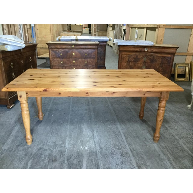 Wood Vintage French Pine Farm Table For Sale - Image 7 of 7