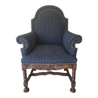 Tudor Style Carved Wood & Upholstered High-Back Armchair For Sale