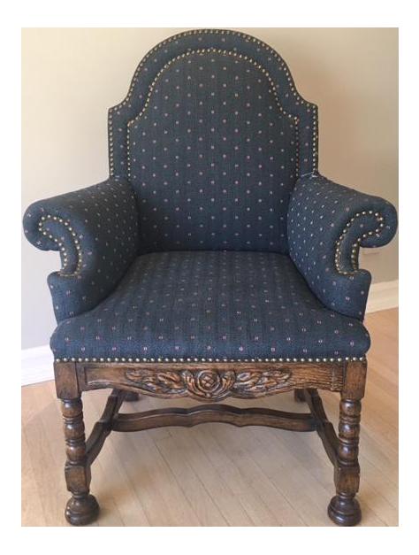 Tudor Style Carved Wood U0026 Upholstered High Back Armchair   Image 1 ...