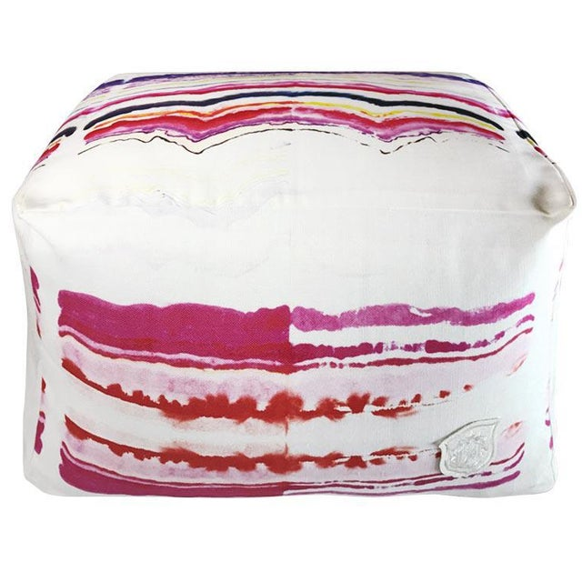 Pink Patterned Pouf For Sale