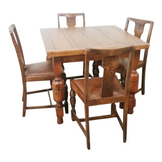 Vintage English Solid Oak Refractory Draw Leaf Dining Set - 5 Pieces For Sale
