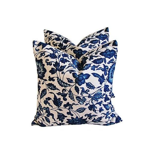 Indigo & White Down & Feather Pillows - A Pair - Image 1 of 7