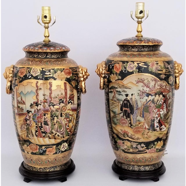 Vintage Contemporary Chinese Export Ceramic Porcelain Lamps - a Pair For Sale - Image 13 of 13