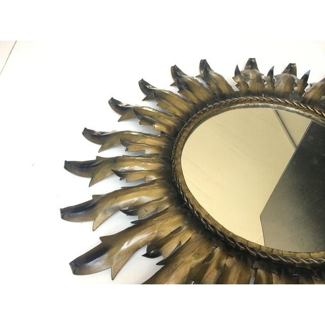 Mid-Century Modern Round Sunburst Mirror - Image 2 of 7