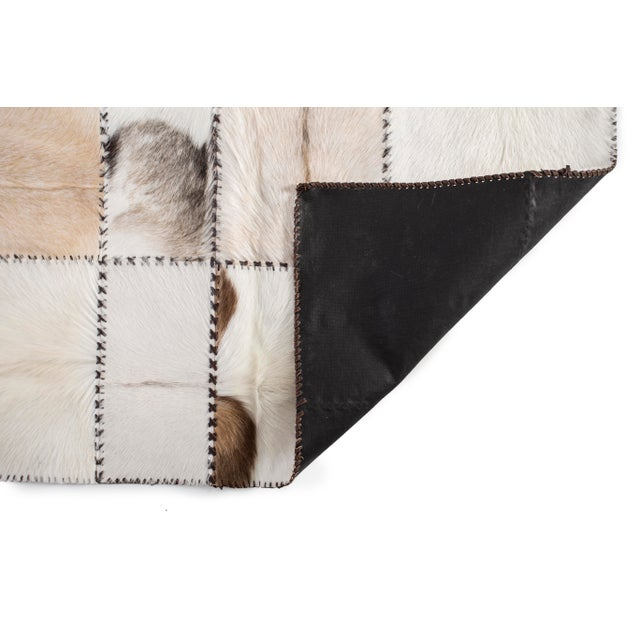 """Hand Stitched Goatskin Patchwork Area Rug - 5'1"""" x 8'1"""" - Image 7 of 9"""