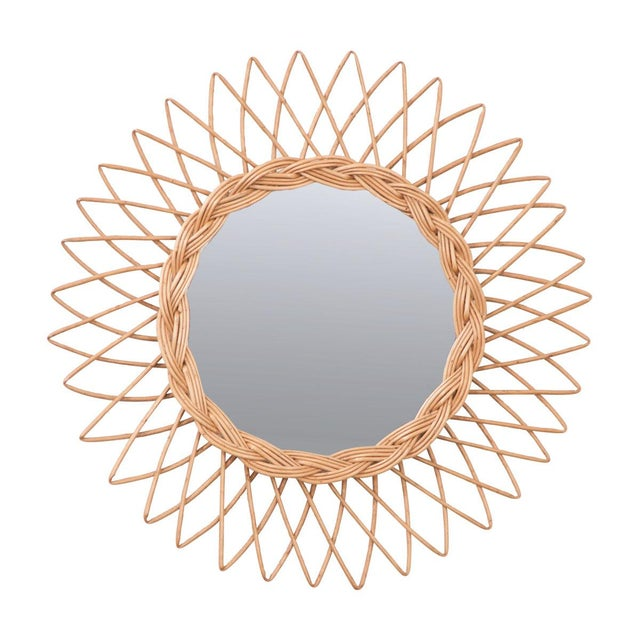 English Vintage Rattan Sunburst Mirror For Sale - Image 9 of 9