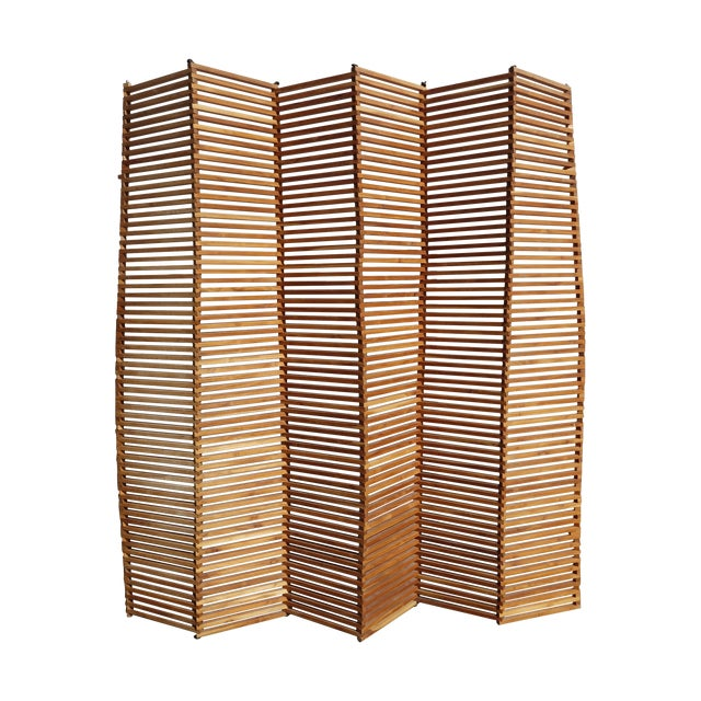 Pliable wooden slat screen chairish
