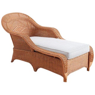 French Style Wicker Chaise Longue With Waverly Ticking Stripe Upholstery For Sale