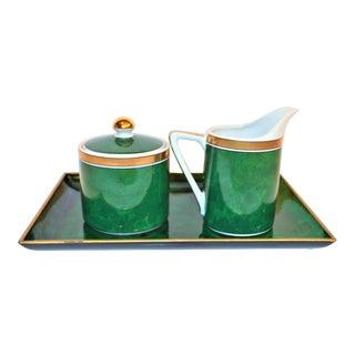 1970s Otaiari Malachite Creamer and Sugar on Lucite Tray - Set of 3 For Sale