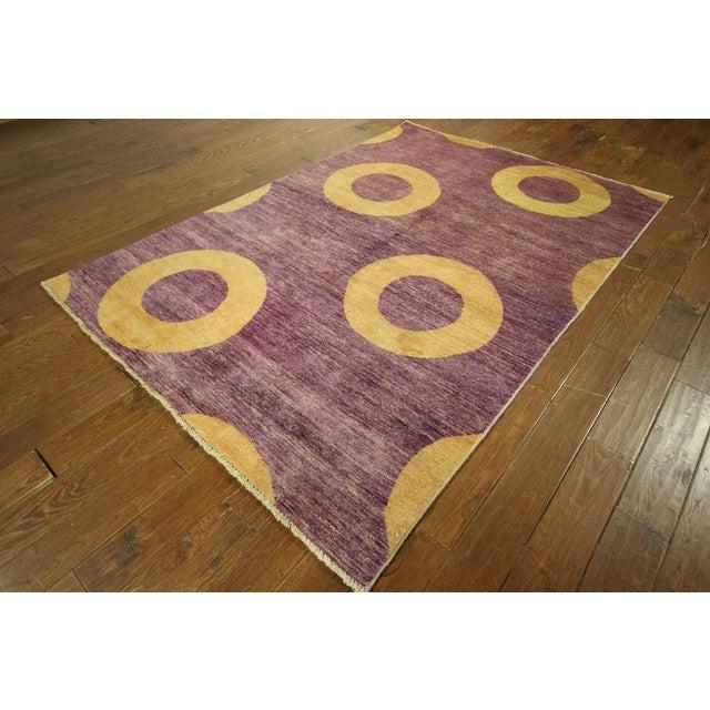 "Modern Purple Gabbeh Area Rug - 5'7"" x 8'2"" - Image 2 of 10"